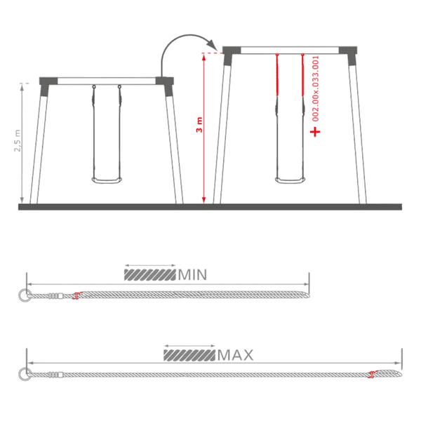 Kiige pikendusköis 110-190cm