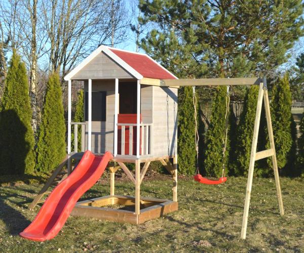 Laste mängumaja Mirell 3 + kiigemoodul Swing-1 (1.44m2)