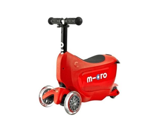 Laste tõukeratas Micro Mini2Go Deluxe 3-in-1 (punane), lastele 18+ kuud