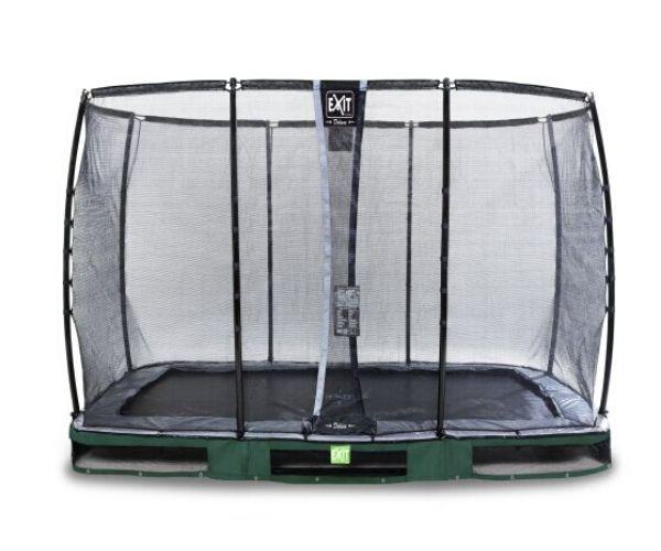 EXIT batuut maapinnale 'Elegant Premium' 214x366cm + ohutusvõrk Deluxe + vedrukate, roheline