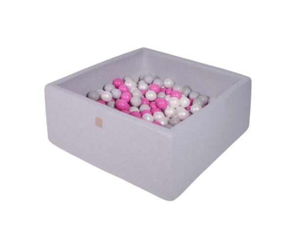 Pallimeri kandiline Meow 90x90/40cm + 200 palli (helehall-erkroosa mix)