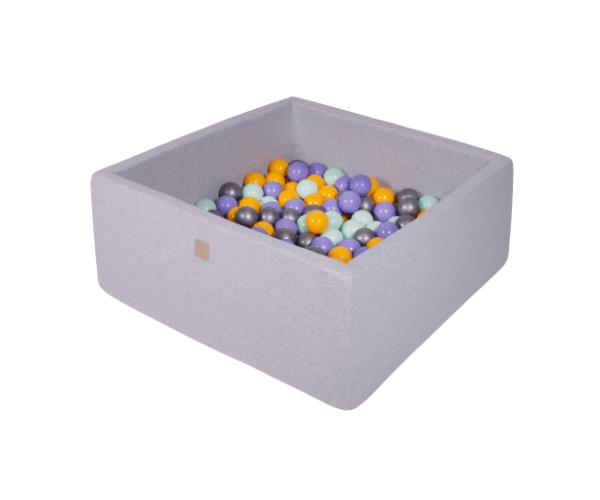 Pallimeri kandiline Meow 90x90/40cm + 200 palli (helehall-kollane mix)