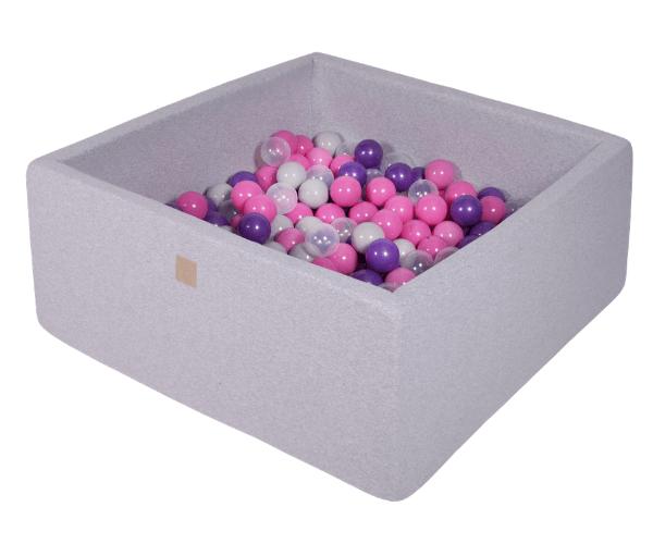 Pallimeri kandiline Meow 90x90/40cm + 200 palli (helehall-lilla mix)