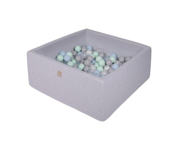 Pallimeri kandiline Meow 90x90/40cm + 200 palli (helehall-õrnsinine mix)