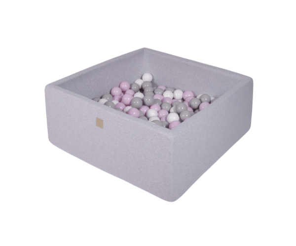 Pallimeri kandiline Meow 90x90/40cm + 200 palli (helehall-pastelne mix)