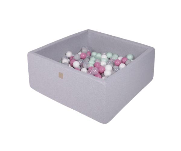 Pallimeri kandiline Meow 90x90/40cm + 200 palli (helehall-roosa mix)