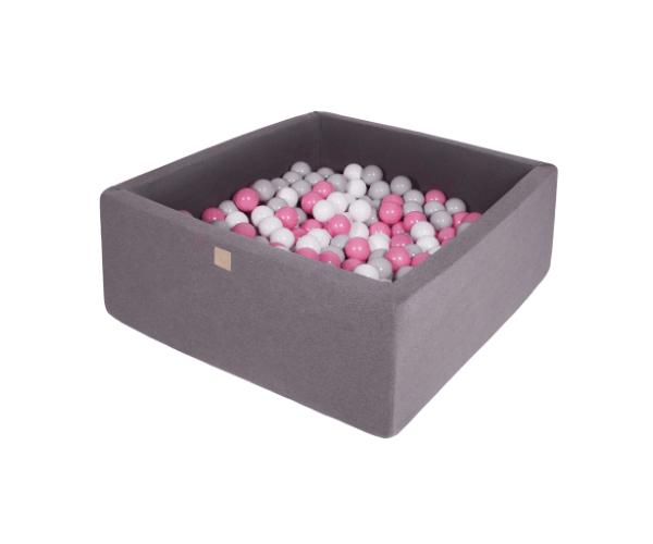 Pallimeri kandiline Meow 90x90/40cm + 200 palli (tumehall-roosa mix)