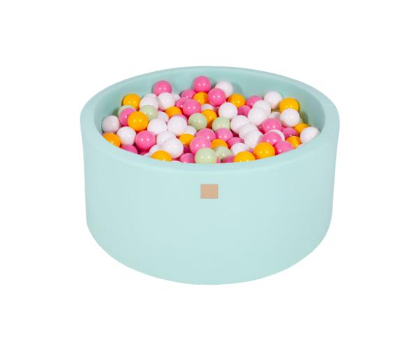 Pallimeri ümmargune Meow 90/40cm + 300 palli (mint-roosa mix)