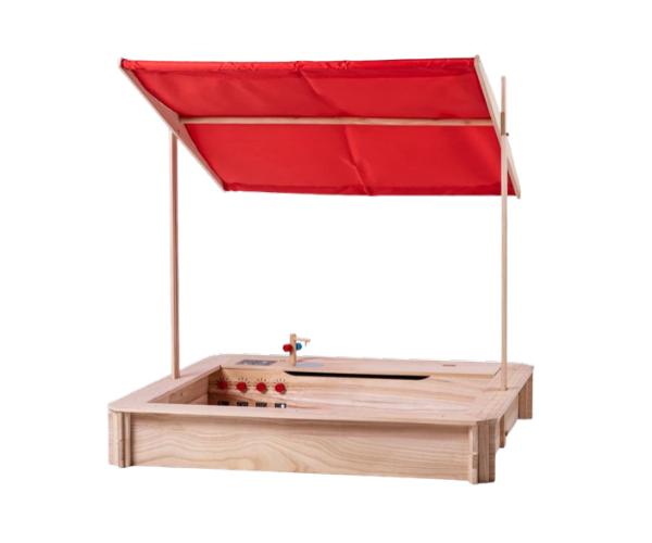Liivakast päikesevarju ja kööginurgaga 120x120cm (naturaalne)