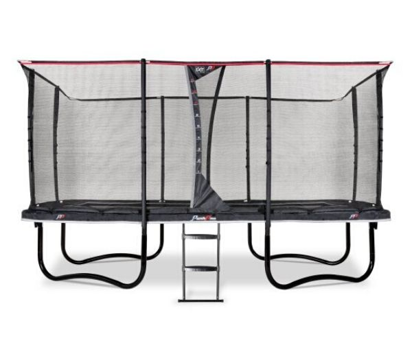 EXIT batuut 'PeakPro' 275x458 cm + ohutusvõrk, vedrukate ja redel, must