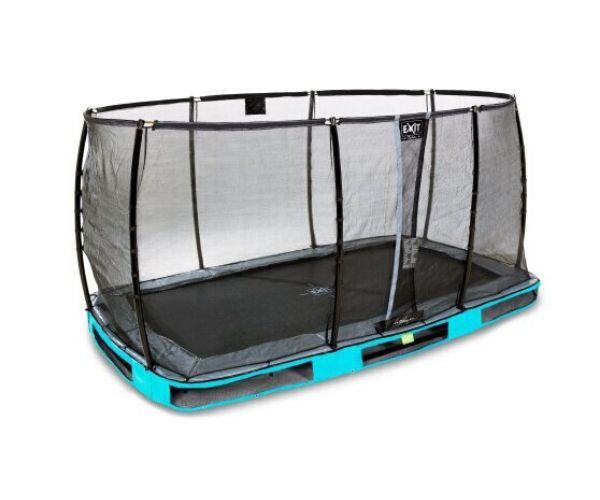EXIT batuut maapinnale 'Elegant Premium' 214x366cm + ohutusvõrk Deluxe + vedrukate, sinine