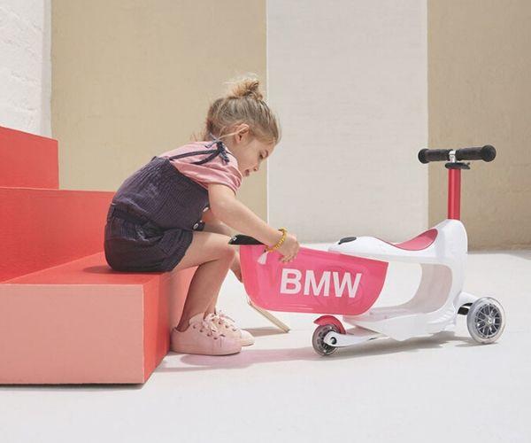 """Laste tõukeratas Micro """"BMW"""", lastele 18+ kuud (valge/vaarikapunane"""