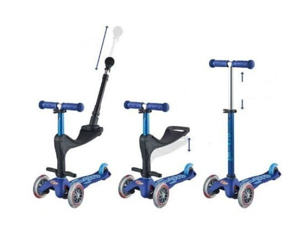 Laste tõukeratas Micro Mini Deluxe Plus 3in1 (sinine), lastele 12+ kuud