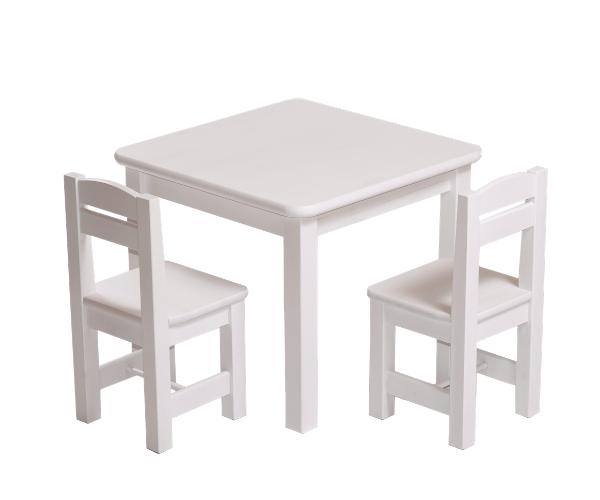 Täispuidust lastelaud ja toolid (2tk) 'Rubi', valge lakk
