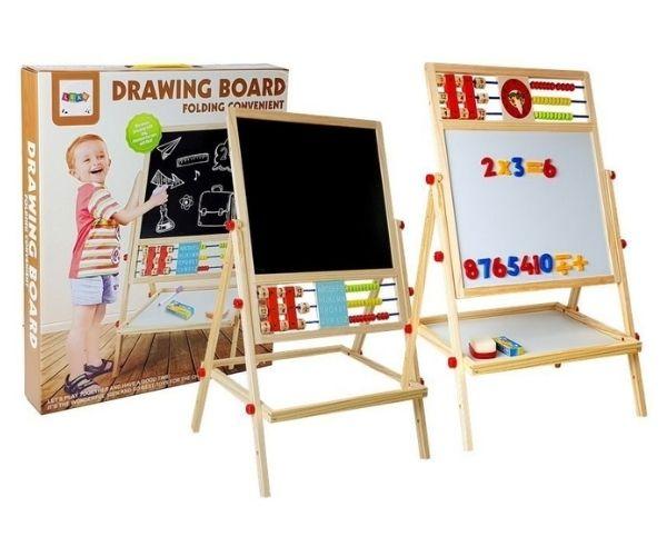Laste puidust joonistustahvel + kell ja magnettähed