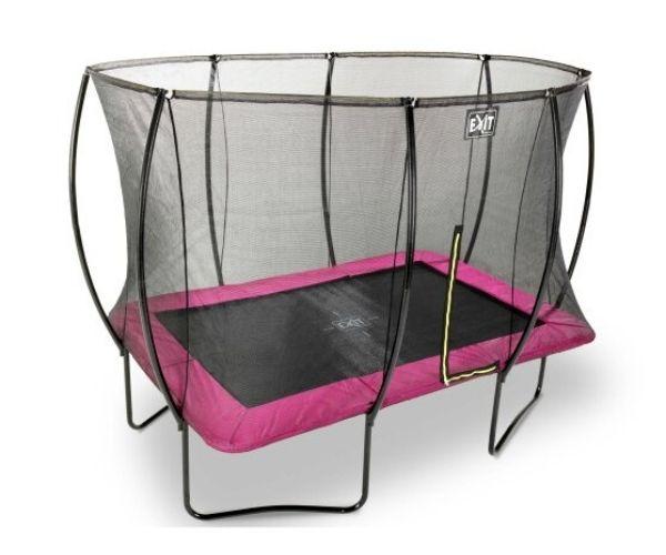 EXIT batuut 'Siluett' 244x366cm + ohutusvõrk ja vedrukate, roosa