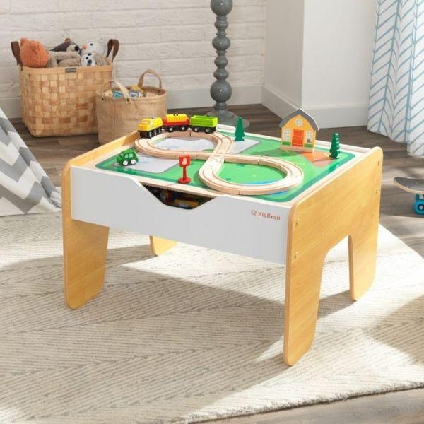 'KidKraft' Activity Table 2in1, legolaud ja mängulaud rongirajaga
