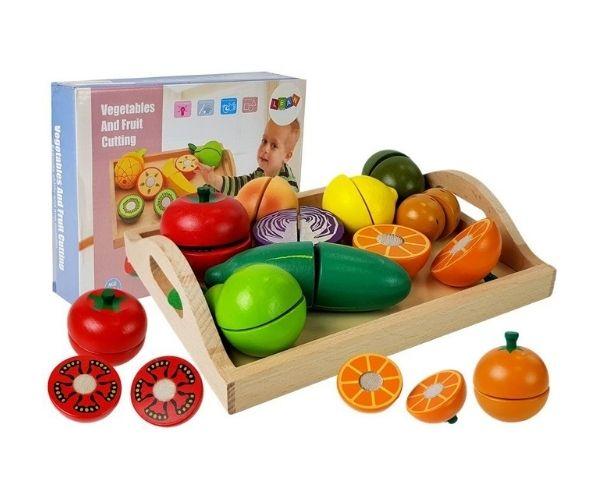 Puidust köögi- ja puuviljade mängukomplekt