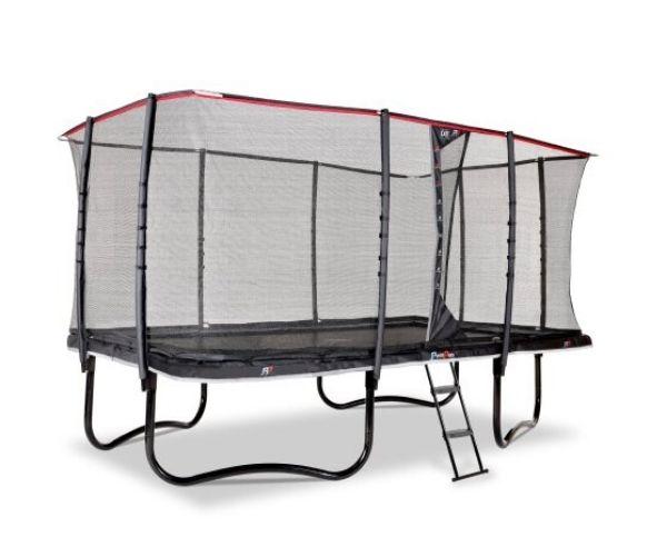 EXIT batuut 'PeakPro' 244x427cm + ohutusvõrk, vedrukate ja redel, must