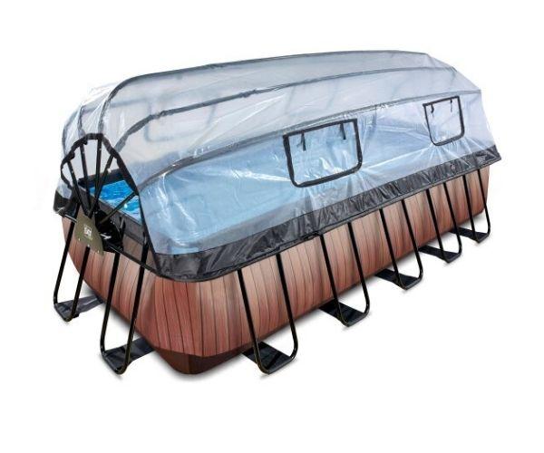 Soojendusega välibassein EXIT 'Wood' 540x250x122cm katuse, liivafilterpumba ja redeliga, pruun