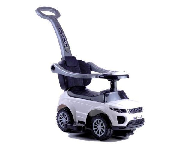 Pealeistutav auto Land Rover helidega (lükkevarrega), valge
