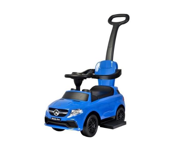 Pealeistutav auto Mercedes helidega (lükkevarrega), sinine