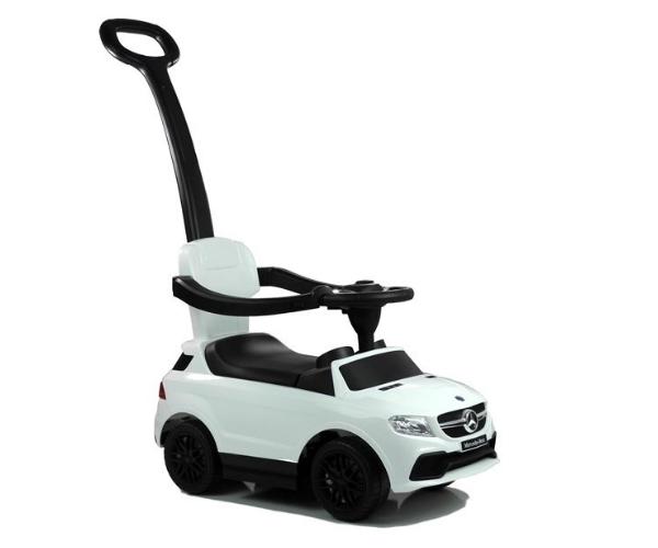 Pealeistutav auto Mercedes helidega (lükkevarrega), valge